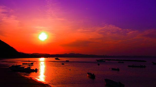 走水海岸の夕暮れ(走水海岸)