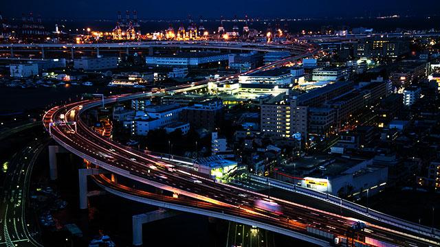 横浜マリンタワーから見える夜景(山下公園)