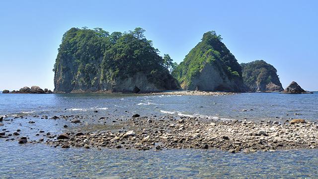 三四郎島のトンボロ現象(堂ヶ島)