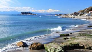 七里ヶ浜日本の渚百選に選ばれた夕日の美しい海岸
